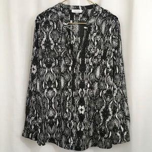 Calvin Klein  Black & White Snakeskin Blouse